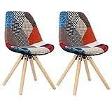 WOLTU BH52mf-2 2 x Esszimmerstühle 2er Set Esszimmerstuhl mit Sitzfläche aus Leinen Design Stuhl Küchenstuhl Holz, Neu Design, Patchwork, Mehrfarbig