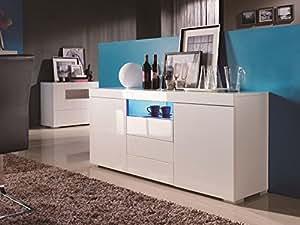 Matelpro-Buffet/bahut design 3 portes/2 tiroirs blanc laqué Elmer