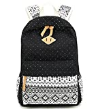 Schulrucksack Mädchen Aokey Casual Canvas Rucksack Polka Dots backpack Freizeitrucksack Schulranzen für Jugendliche Damen & Kinder