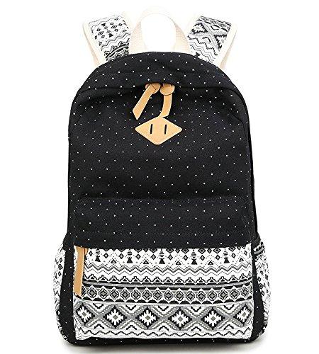 5b0e3627066ca Schulrucksack Mädchen Aokey Casual Canvas Rucksack Polka Dots backpack  Freizeitrucksack Schulranzen für Jugendliche Damen   Kinder