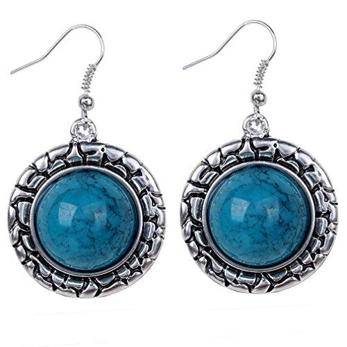 Yazilind Vintage Tibetan Silver Blue Oval Turquoise Hollow Out Dangle Drop Hook Earrings Women Gift VgQUjE