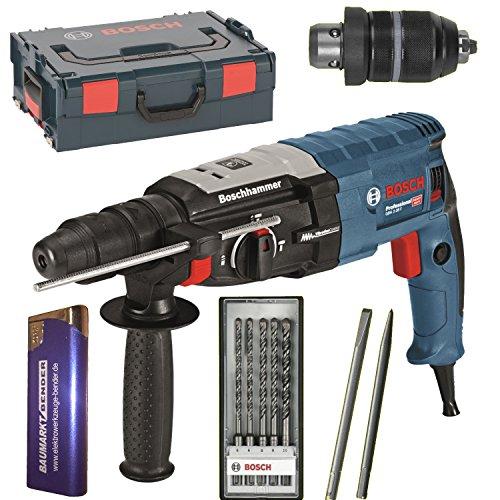 Preisvergleich Produktbild BOSCH Bohrhammer GBH 2-28 F + L-BOXX + SDS Plus 2x Meißel + SDS-Bohrer-SET 5 teilig 0611267601 + Feuerzeug