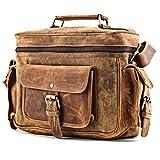 A.P. Donovan - Kameratasche aus Leder | Fototasche | Schultertasche | Umhängetasche für Fotozubehör (Büffelleder Braun)