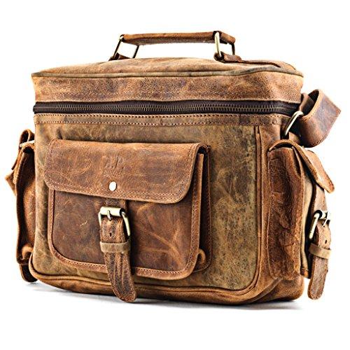 Premium Handarbeit Echt-Leder Kameratasche von A.P. Donovan | Ledertasche Camera Bag Fototasche Fotozubehör Umhängetasche Fotobedarf Schultertasche SLR DSLR Tasche Freizeittasche | Messenger Bags