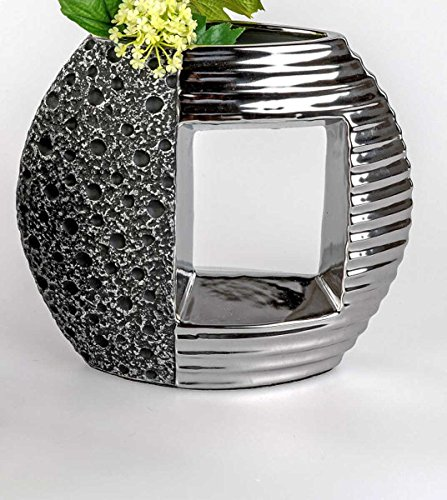 Formano Deko-Vase Stone 770837 schwarz silber Blumen-Vase Deko-Objekt Deko-Skupltur