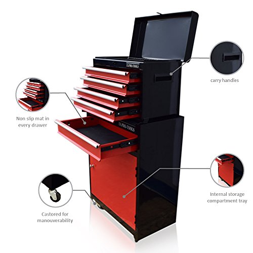 US Pro Tools Werkzeugschrank mit Rollen, rot, schwarz