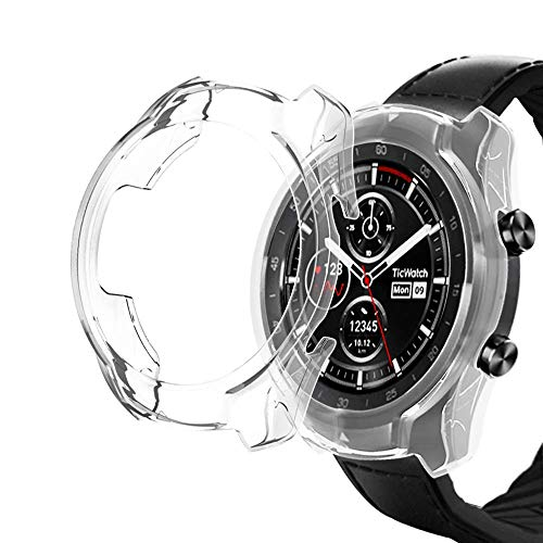 KTcos Kompatibel mit Ticwatch Pro Hülle, Slim Fit Ultra Light TPU Schutzhülle Bumper Shell Cover für Ticwatch Pro Smartwatch (klar) Ultra Light Case