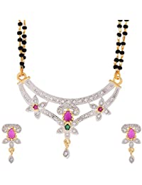 Zeneme Women's Pride American Diamond Gold Plated Mangalsutra Pendant With Chain And Earrings For Women