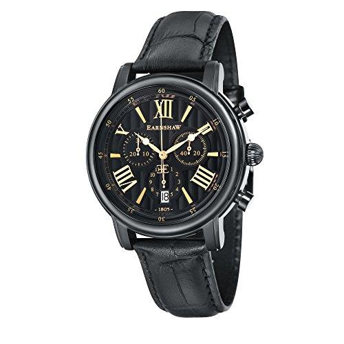 Thomas Earnshaw Longcase 43 ES-0016-0B Montre à quartz pour homme Avec cadran noir à affichage chronographe et bracelet en cuir marron