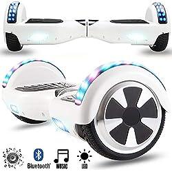 """Magic Vida Skateboard Électrique 6.5"""" Bluetooth Puissance 700W Deux Barres LED Gyropode Auto-Équilibrage de Bonne qualité Blanc"""
