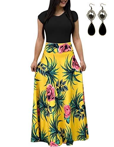 UUAISSO Sommerkleid Damen Lang mit Blüte Drucken Lang High Waist Elastische Strandkleider Maxikleider I-gelb S (Kleid Gelbe Lange)