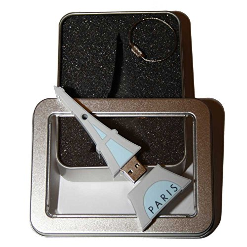 Preisvergleich Produktbild Souvenir Paris | Geschenkidee: USB-Stick mit Schlüsselanhänger Form Tour Eiffel (Eiffelturm) für Frauen u. Männer | Memory Stick 2 GB | CultourStix