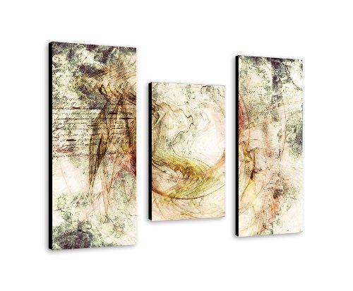 Geometrische Magie - Wandbild 100x70cm 3-teiliges Keilrahmenbild (30x70+30x50+30x70cm) abstraktes Wandbild mehrteiliger Kunstdruck im Gemälde-Stil - optisch wie handgemalt - glatte Oberfläche - Vintage