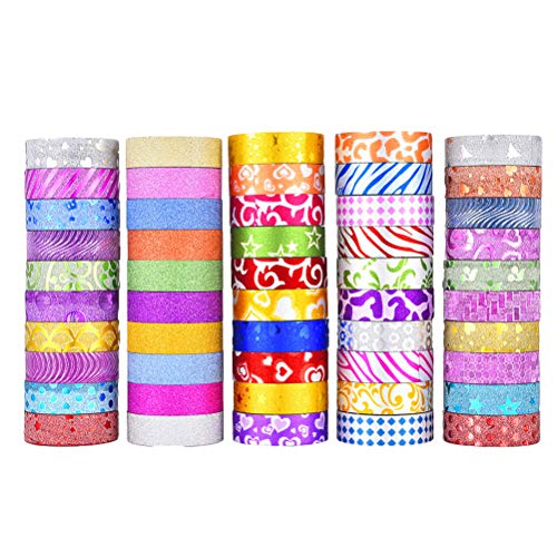 STOBOK 50 stücke DIY Glitter Gold Papierband Washi Klebeband für Dekoration Klebeband Floral Geschenkbox Paket Band (gemischten Stil) -