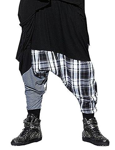 Cystyle Herren Haremshose Casual Loose Hose Graue Streifen Männer Baumwolle Jogginghose Plaid Hip-hop Hosen elastische Bund Sporthose für Tanz Freizeithose Freie Größe (Stil 2)