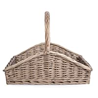 Shallow Style Grey Washed Fireside Log Basket -Large