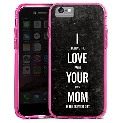 Apple iPhone 6 Bumper Hülle Bumper Case Glitzer Hülle Mama Humor Amour Bumper Case transparent pink