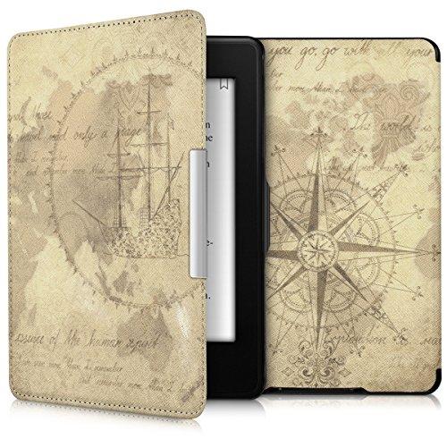 kwmobile Funda para Amazon Kindle Paperwhite - eReader Case de cuero sintético - Con tapa E-book reader Flip style Diseño Mapamundi vintage marrón marrón claro