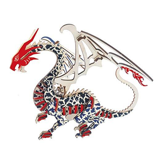 S+S 3D Chinese Dragon Modell Kit Laserschneiden Tiermodell Kit Kinder Machen Ihre Eigenen Puzzle-Handwerk, Wenn Kinder über 7 Jahre Alt Lernspielzeug
