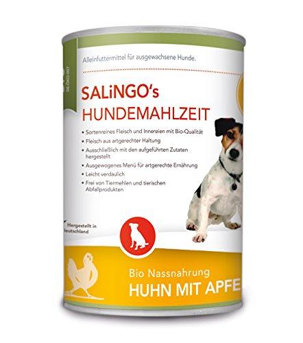 SALiNGO Bio Hundefutter nass, Huhn mit Apfel, Kürbis und Zucchini, getreidefrei (6x400g)