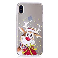 iphone X Soft Silicone Case, Christmas Phone Case for iphone X, Santa & Elk Pattern Ultra Slim Fit Clear Transparent Back Cover Bumper Rubber Gel Protective Shell for iphone X