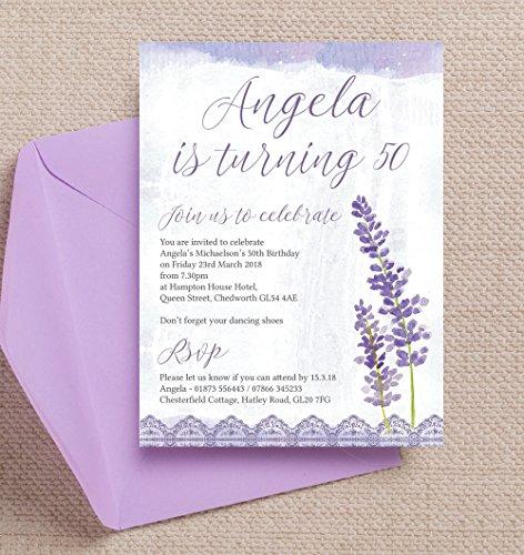 personalisierbar lila und Lavendel Geburtstag Einladungen mit Umschlägen (10Stück)