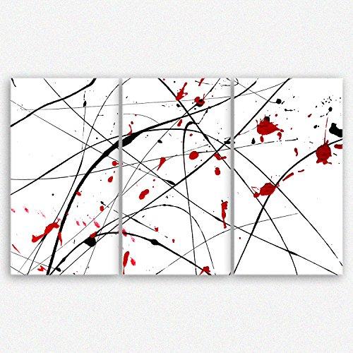 ge-Bildet® Leinwandbild 'white wall' abstrakte Kunst schwarz weiß rot - 165x100 cm 3 teilig -...