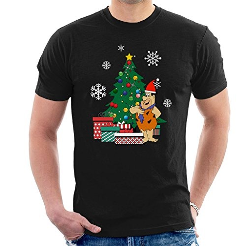 Fred Flintstone Around The Christmas Tree Men's T-Shirt (Flintstones Bowling)