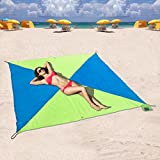 Tasche Decken, kompaktes Picknick/Strand Decke – XL Extra Groß (190 x 190cm) für 4–6 Personen (Blau / Grünes Kreuzdreieck)