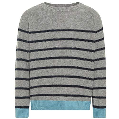 NAME IT Baby-Jungen NMMODIMS LS Knit Langarmshirt, Mehrfarbig (Grey Melange), 92 -