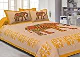 #7: Jaipuri Haat Traditional Print Cotton Double Bedsheet With 2 Pillow Covers - King , Multicolor