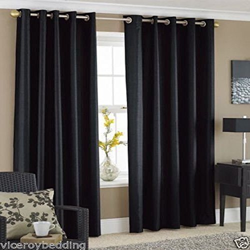 Pair of BLACK 90″ Width x 72″ Drop, Luxury FAUX SILK Eyelet Curtains INCLUDING PAIR OF MATCHING TIE BACKS, by VICEROY BEDDING