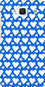 AMEZ designer printed 3d premium high quality back case cover for Xiaomi Redmi 2 Prime (bright blue white hearts)