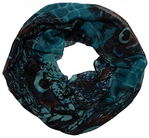 ♡ Zeigen Sie stolz was Sie haben! Exklusiver Loop mit Animal/Pfau-Print ♡ Schal | Loop | Halstuch | Schlauchschal | Rundschal | Tuch | Damen | Women | türkis (Schal Snake-print)