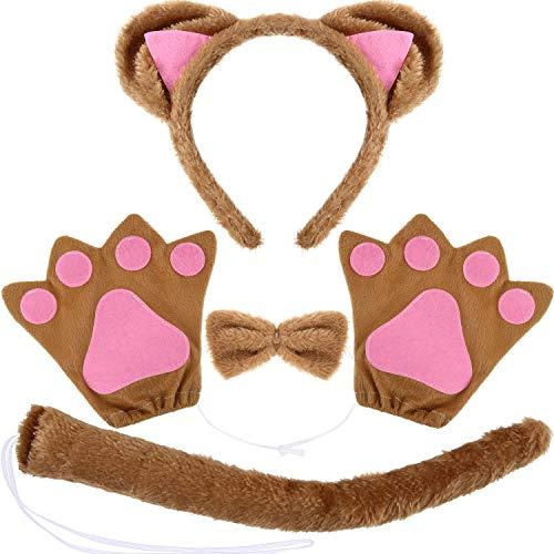 Ohren Kostüm Katzen - WILLBOND 10 Stüke Katzen Kostüm Satz mit Katzen Ohren Stirnband, Katzen Fliege, Katzen Schwanz und Katzen Pfoten Handschuhen für Halloween oder Kostüm Party (braun, Größe B)