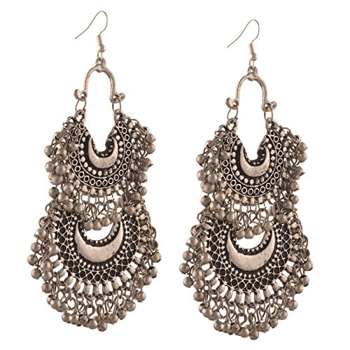 Zephyrr Jewellery German Silver Turkish Style Beaded Chandbali Earrings for Women For Womens