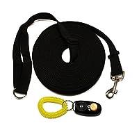 Formation Laisse pour chien et Clicker. Taille L 15m/- Long Line pour chien et chiot Rappel obéissance Formation Kit d'entraînement avec instructions.