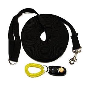 Formation Laisse pour chien et Clicker. Noir Taille L 15m/- Long Line pour chien et chiot Rappel obéissance Formation avec kit de formation complet instructions.