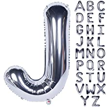 CHANGZHONG Large Mylar Foil Helium Letter Balloons 40 Inch Silver Balloons Alphabet Letter for Birthday Bridal Shower Anniversary Decorations (Letter J)