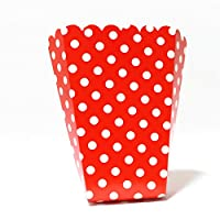 PrettyurParty Red Polka Dot Popcorn Box - (Pack of 10)