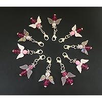 10 pink gemischte Perlenengel mit Karabinerhaken, handmade, Schutzengel, Anhänger