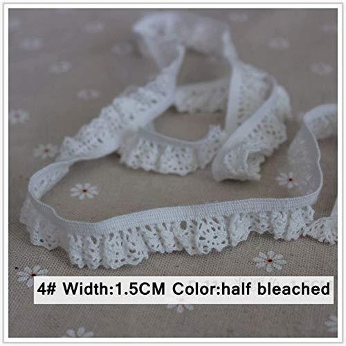 AiCheaX Spitze Handwerk-2 Yards 15-35 MM Weiß und Beige Handarbeit Patchwork Baumwolle Material Elastische Spitze DIY Socken Kleid Nähen Hochzeit Handwerk Dekoration-(Farbe: 4 halb Gebleicht 1,5 cm) -