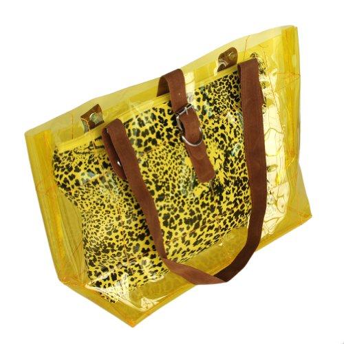[Lucky Jaune] Leopard Poignée double sacoche sac à main en similicuir Style décontracté