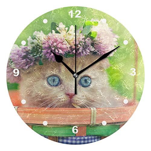 SUNOP 304947725 Uhr für Kinder, mit Öl Bedruckt, niedliches kleines Kätzchen mit Kapelettkorb, Wanduhren für Wohnzimmer, Schlafzimmer und Küche, Vintage-Stil (Kätzchen Wecker)