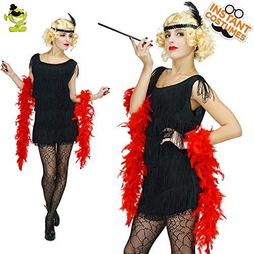 Flapper Pailletten Kind Schwarz Kostüm - GAOGUAIG AA Frauen Schwarz Pailletten Kleid Flapper Kostüm 1920 Kostüm Cosplay Party Kostüme SD (Color : Onecolor, Size : Onesize)