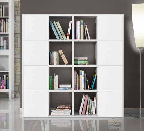 Bücherregal Wohnzimmer Wohnwand weiß Esche 16Elemente 8Antine