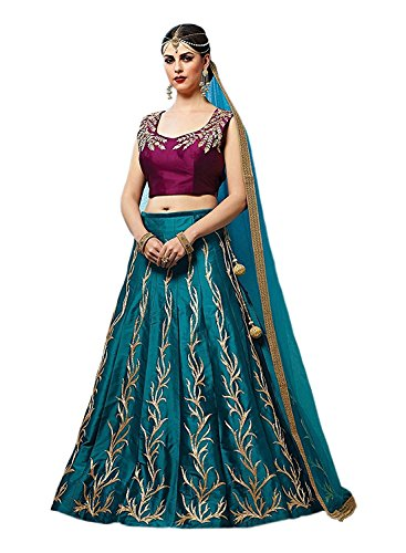 Lehenga Choli ( Vatsla Enterprise Women\'s Heavy Embroidered Tafeta Silk Lehenga Choli)(VHNSPHILLURISKYPURPLE_SKYBLUE_PURPLE_COLOUR)