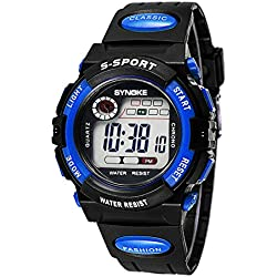 Boys Girls Summer Multi Function Outdoor Waterproof Digital Sports Watches Electronic Wrist Watches For Age 5-13 years old Blue
