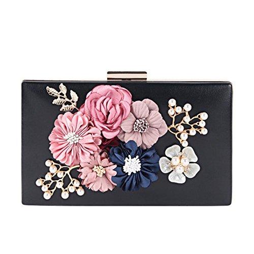 frauen kupplungen geldbörsen taschen blumen leder umschlag perle geldbörse abend handtasche. 20 x 12 cm black