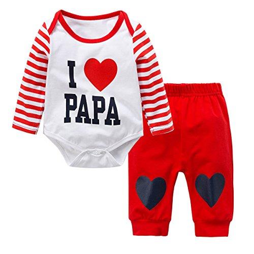 Baywell Neugeborene Baby Jungen Mädchen Kleider Set, Entzückende Spielanzug Set 2Pcs Outfit Süße Herz Print (M/70/12-18 Monate, Rot-I Love Papa)
